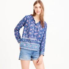 J.Crew Cotton voile popover in floral block print Blue Multi Sz 00 Style #H7765J