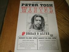 PETER TOSH / Berkeley Tour Poster 1981 WANTED DREAD & ALIVE ~ Excellent