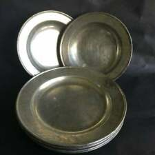 Tin Shallow Bowls and Plates France Lot of 11 Pieces