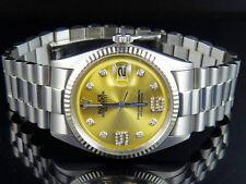 Mens Rolex Datejust 18K S.Steel Fluted Bezel 36MM Presidential Diamond Watch