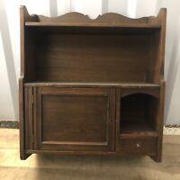 Antique VTG Dark Wooden Locking Cabinet Wall Shelf w/Key Appx 22x28x8in