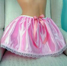 "Tiny Cute stiff pink shiny satin half slip mini sissy skirt sz 26-42"" OS"