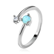 925 Sterling Silver Plated Opal Rings MOM Ring Love Gifts Band Rings Jewelry