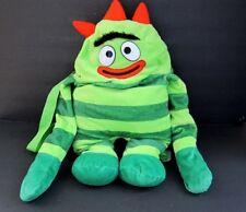 "Yo Gabba Gabba Brobee Plush Backpack Plush Doll 20"" Green Carry Travel Bag"