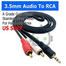 "5ft (1/8"") 3.5mm AUX Stereo to 2 RCA Male Audio Y Cable Adapter Cord MP3 iPod"