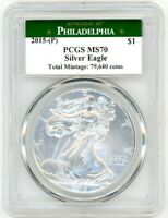 2015-(P) $1 Silver Eagle MS70 PCGS Struck At Philadelphia Total Mintage 79,640