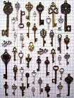 Antique Brass Skeleton Keys Gothic Beads Furniture Barrel Key Lock Lot of 20