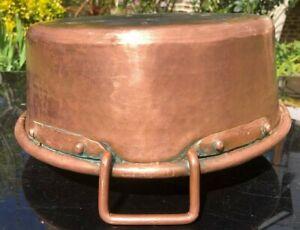 COPPER JAM PAN ANTIQUE  FRENCH SOLID COPPER HANDLES & RIVETS BASIN SINK 2.2 kg