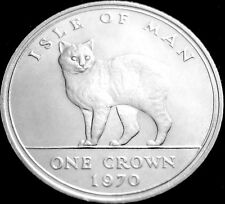 1970 Isle Of Man1 Crown Coin Cat Collection Manx Cat UNC