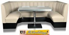 HW120/120 White American Diner Bench Seating Corner Seat Retro USA Style