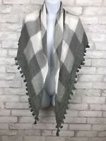 Abercrombie & Fitch Gray White Plaid Scarf Shawl With Tassel Fringe 45x43""