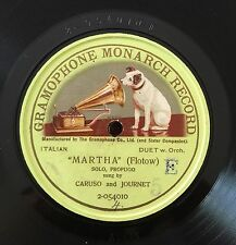 "RARE 78RPM 12"" ONE SIDED ENRICO CARUSO MARCEL JOURNET SOLO PROFUGO MARTHA FLOTOW"