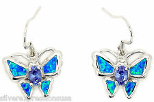 Tanzanite and Blue Fire Opal Inlay Solid 925 Sterling Silver Butterfly Earrings