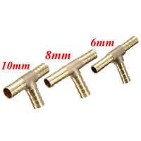 "1/4"" 6mm BRASS BARBED T Piece 3 way Fuel Hose Joiner for Compressed Air Gas Oil*"
