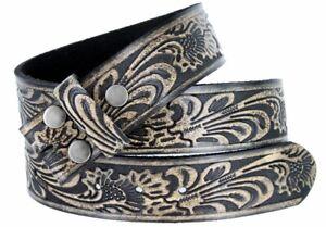 BELT - Black Western Flower Design Full Grain Leather Snap On Belt - NO BUCKLE