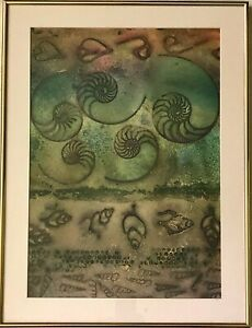 """Original BRITT ZAIST Ink Painting/Drawing """"The Sea's Game Board"""" w/ Signed Card"""
