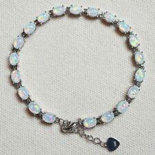 "Atemberaubende Sterling Silber eingefassten Ovale Weiße Feuer Opal Tennis Armband 7.5"" -8'"