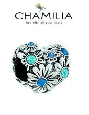 CHAMILIA 925 silver Swarovski BLUE TONES ZINNIA HEART charm bead, Love, flowers