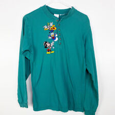 The Disney Store Men's Teal Embroidered Henley Button Long Sleeve Pullover Top S