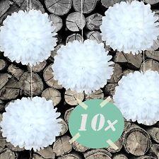 DIY PomPoms 10er Set 30cmØ,Hochzeit, Papierblume,PomPon aus Seidenpapier in weiß