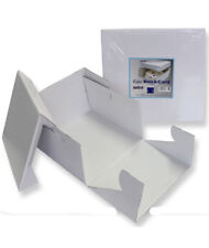 PME White 8'' Square Folding Cardboard Cake Baking Box Container Lift Off Lid