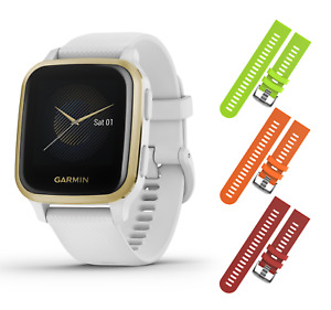 Garmin Venu Sq GPS Fitness White/Light Gold Smartwatch w/ Lime/Orange/Red Straps