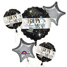 Happy New Year Foil Balloon Bouquet Black Silver Gold New Year Party Decorations