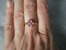 Pink Spinel cluster ring, size P/Q, 1 carats, 1.72 grams 10k Yellow gold