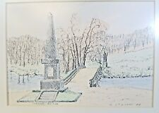 Chris Stavros Signed and Titled Watercolor Concord Bridge Battle of Lexington