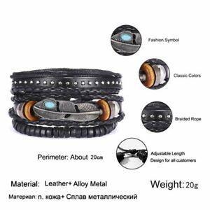 6Pcs/Set Multilayer Leather Bracelet Men's  Women Wristband Bangle Jewelry Set