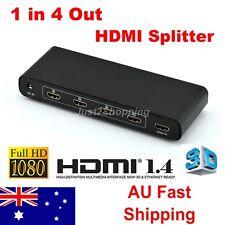 1 In 4 Out HDMI Splitter Amplifier Duplicator Full HD 1080p 3D V1.4 Foxtel DVD