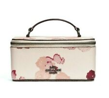 Nwt Coach Vanity Case Halftone Floral Flower Leather Bag Pouch Chalk Cute F38638