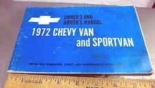 Vintage 1972 Chevy Van & Sportvan Owners Manual, great retro graphics & colors