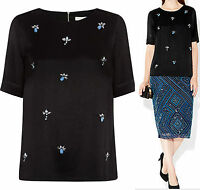 New Monsoon size 8 - 22 RRP £59 Harrie Black Sequin Bead Embellished Top Blouse