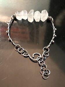 Unique Artisan Sterling Silver Rough Cut Quartz Crystal Bracelet Handmade 925