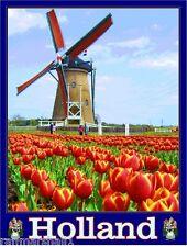 Holland Dutch Netherlands Windmill Tulips Europe Travel Advertisement Poster