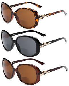 Tinted Bifocal Reading Sunglasses Black Demi Brown Womens Glasses Sun Readers