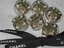 CHANEL 6 METAL CC LOGO FRONT  GREEN GLASS PEARL BUTTONs  22 MM /  1'' NEW lot 6