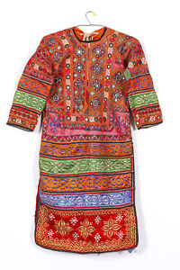 Vintage Mirror Work Dress From Indian and Sindh Tribes Textile Costumes