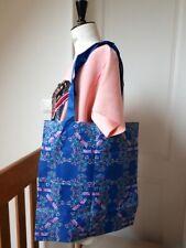 tote bag sac shopping FURLA nylon résistant - tons bleus libellule/fleurs - neuf