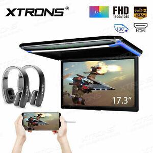 17.3'' Screen Flip Down Car Roof Mount Monitor Overhead HDMI Player +Headphones
