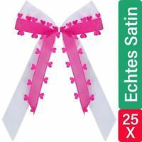 25 Autoschleifen Pink mit Herzen Antennen Schleifen Schmuck Hochzeit Deko Set