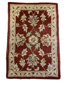 Heritage Red Traditional Taupe Tan Area Rug Door Mat 2x3
