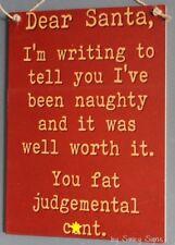 Naughty Dear Santa Christmas Sign - Decorations Tree Lights Gifts Stocking Signs
