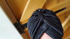 Vintage Black Turban-style Ladies Hat Stylish Head Cover Medium