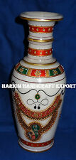 "12"" Marble Flower Vase Pot Jaipur Golden Indian Handicraft Art Living Home Gifts"