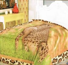 Leopard Borrego Blanket throw king size soft plush bedding Original new