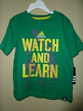 New! Adidas Boys Size 4 Green, Yellow & Gray Watch And Learn Basketball Ss Shirt