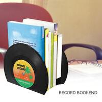 Creative Retro Record Bookend Shelf Holder Desk Organizer School Office Supply