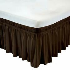 Wrap Around Bed Skirt Egyptian Cotton 600 Tc Chocolate Solid All size & drop